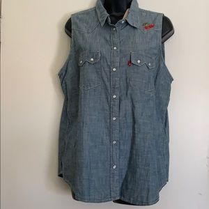 Collared sleeveless denim shirt *NWT*